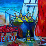 Caribe And Crab Poster by Patti Schermerhorn