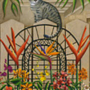 Cat Cheetah's Fence Poster by Carol Wilson