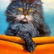 Cat.go To Swim.original Oil Painting Poster by Natalja Picugina