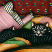 Cats With Pillow And Blanket Poster by Carol Wilson