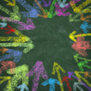 Chalk Drawing Colorful Arrows Poster by Setsiri Silapasuwanchai