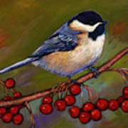 Cherries And Chickadee Poster by Johnathan Harris