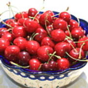 Cherries In Blue Bowl Poster by Carol Groenen