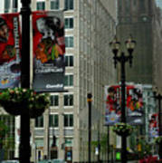 Chicago Blackhawk Flags Poster by Ely Arsha