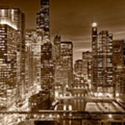 Chicago River City View B And W Poster by Steve gadomski