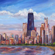 Chicago Skyline - John Hancock Tower Poster by Jeff Pittman