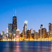Chicago Skyline At Twilight Poster by Paul Velgos
