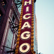 Chicago Theatre Marquee Sign Vintage Poster by Paul Velgos