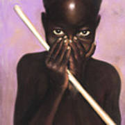 Child With Stick Poster by L Cooper