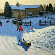 Children Sledging Poster by Andrew Macara