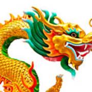 Chinese Beautiful Dragon Isolated On White Background Poster by Nichapa Sornprakaysang