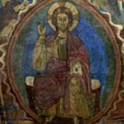 Christ Pantocrator Fresco. Basilica Saint-julien. Brioude. Haute Loire. Auvergne. France. Poster by Bernard Jaubert