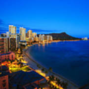 Classic Waikiki Nightime Poster by Tomas del Amo - Printscapes