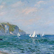 Cliffs And Sailboats At Pourville  Poster by Claude Monet