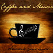 Coffee And Music Poster by Lourry Legarde