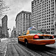 Colour Popped Nyc Cab In Front Of The Flat Iron Building  Poster by John Farnan