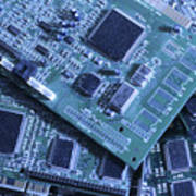 Computer Boards And Chips Lie In A Pile Poster by Taylor S. Kennedy