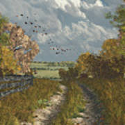 Country Lane In Fall Poster by Jayne Wilson