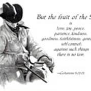 Cowboy With Fruit Of Spirit Scripture Poster by Joyce Geleynse
