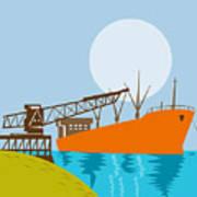 Crane Loading A Ship Poster by Aloysius Patrimonio