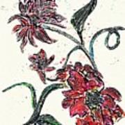Crayon Flowers Poster by Sarah Loft