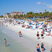Crowd On A Summer Beach In Ft Meyers Florida Poster by ELITE IMAGE photography By Chad McDermott