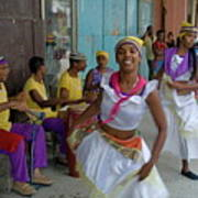 Cuban Band Los 4 Vientos And Dancers Entertaining People In The Street In Havana Poster by Sami Sarkis