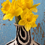 Daffodils In Wide Striped Vase Poster by Garry Gay