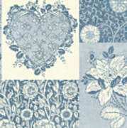 Deco Heart Blue Poster by JQ Licensing