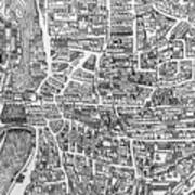 Detail From A Map Of Paris In The Reign Of Henri II Showing The Quartier Des Ecoles Poster by French School