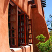 Detail Of A Pueblo Style Architecture In Santa Fe Poster by Susanne Van Hulst