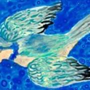 Detail Of Bird People Flying Bluetit Or Chickadee Poster by Sushila Burgess