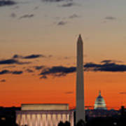 Digital Liquid -  Monuments At Sunrise Poster by Metro DC Photography