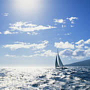 Distant View Of Sailboat Poster by Ron Dahlquist - Printscapes