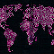 Dot Map Of The World - Pink Poster by Michael Tompsett