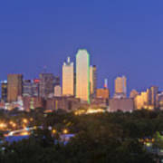 Downtown Dallas Skyline At Dusk Poster by Jeremy Woodhouse