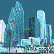 Downtown Houston Poster by Fred Jinkins