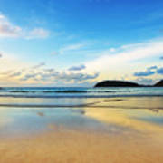 Dramatic Scene Of Sunset On The Beach Poster by Setsiri Silapasuwanchai