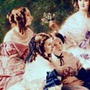 Empress Eugenie And Her Ladies In Waiting Poster by Franz Xaver Winterhalter
