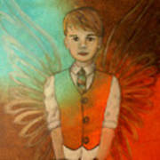 Ethan Little Angel Of Strength And Confidence Poster by The Art With A Heart By Charlotte Phillips