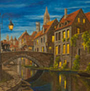 Evening In Brugge Poster by Charlotte Blanchard