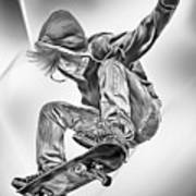Extreme Skateboard Jump Poster by Julie L Hoddinott