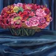 Fabric And Flowers Poster by Sharon E Allen