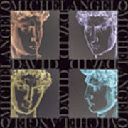 Faces Of David In Negative Poster by Barbara Lugge