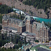 Fairmont Banff Springs Hotel With The Bow River Falls Banff Alberta Canada Poster by George Oze