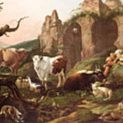 Farm Animals In A Landscape Poster by Johann Heinrich Roos