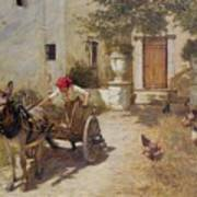 Farm Yard Scene Poster by Henry Herbert La Thangue