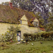 Feeding The Fowls Poster by Helen Allingham