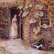 Feeding The Kitten Poster by Helen Allingham