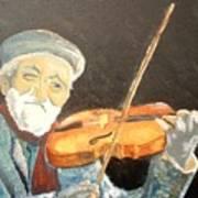 Fiddler Blue Poster by J Bauer